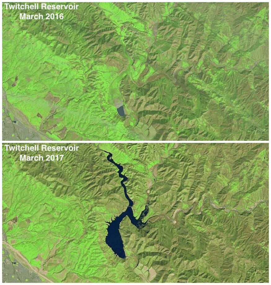 Before and after: Twitchell ReservoirMarch 2016 vs. March 2017 Photo: NASA Landsat 8 Satellite / Catalin Trif