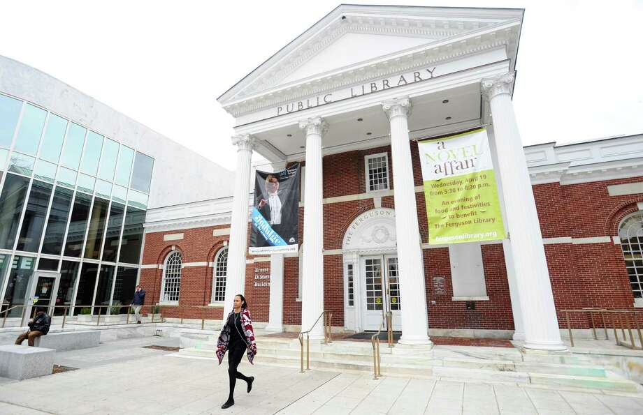 The main branch of the Ferguson Library in downtown Stamford, Conn. on Wednesday, April 5, 2017. Photo: Michael Cummo / Hearst Connecticut Media / Stamford Advocate