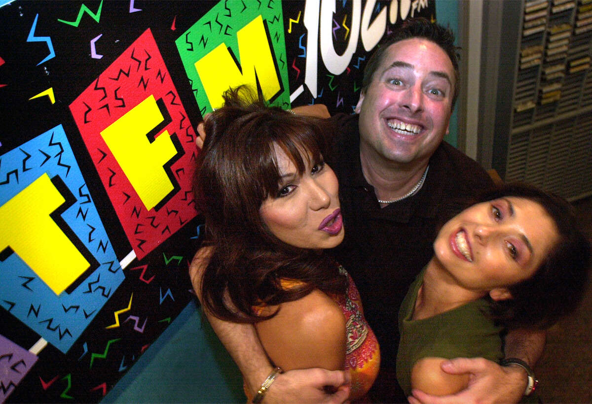 San Antonio's KTFM morning show in 2000. From left, Miss Ree, Dr. Drex, and Roberta Varela ham it up in the morning. Photo by JOEY GARCIA/STAFF