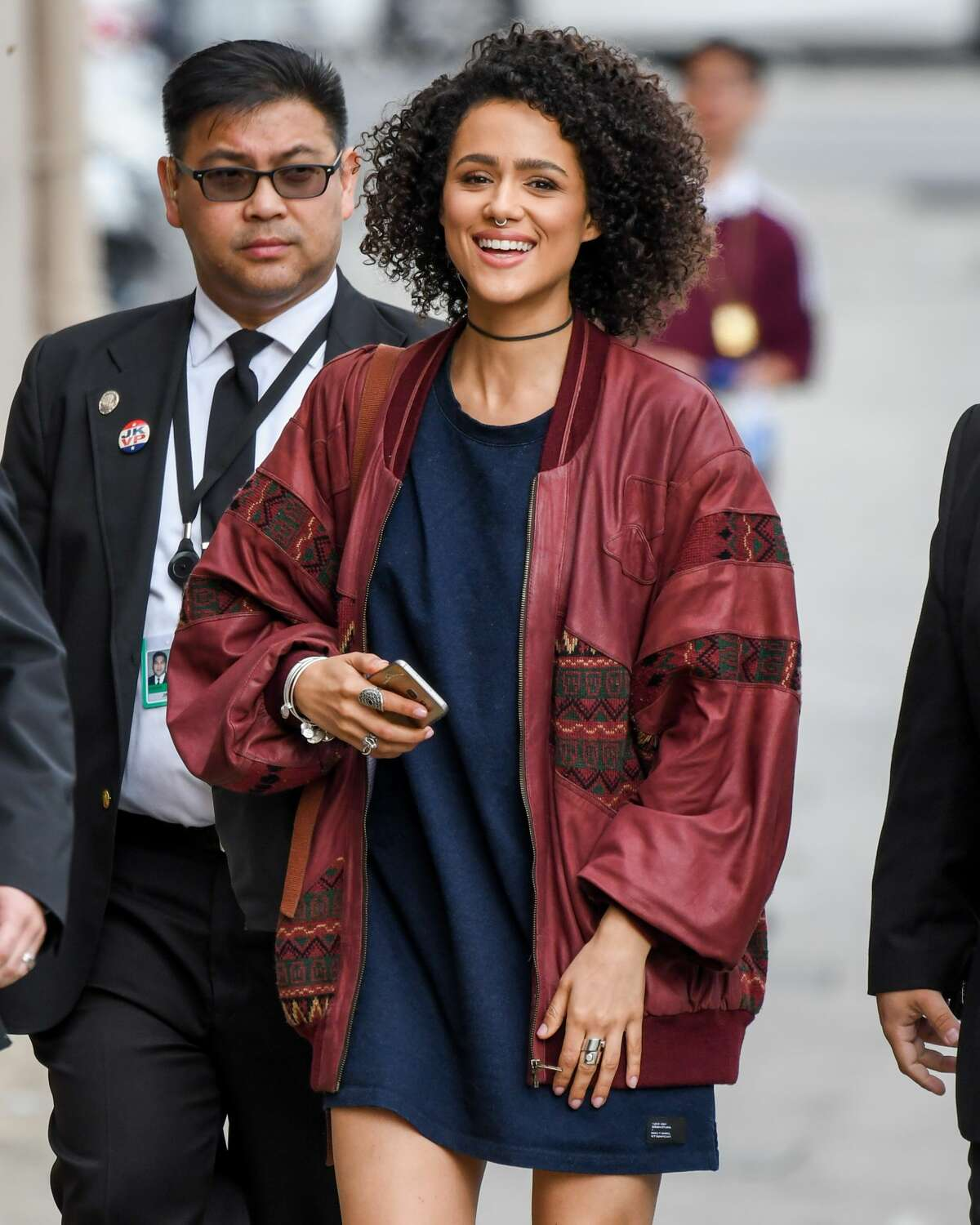 Nathalie Emmanuel does it right by making this vinatge-looking jacket the focus of the outfit.