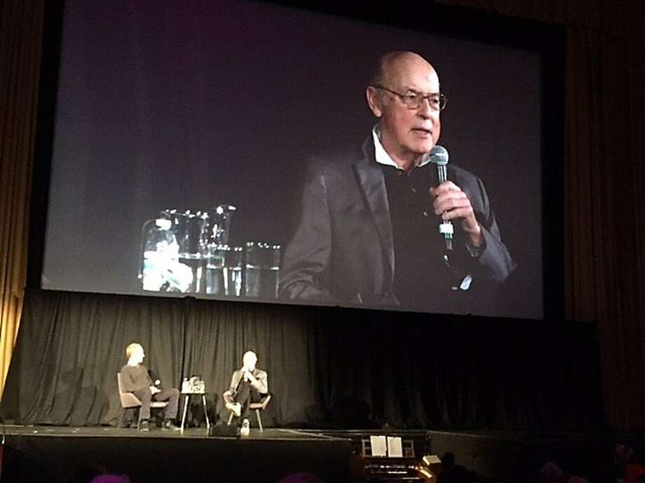 Tom Luddy onstage at Castro Theatre in conversation with Todd McCarthy Photo: Leah Garchik, San Francisco Chronicle