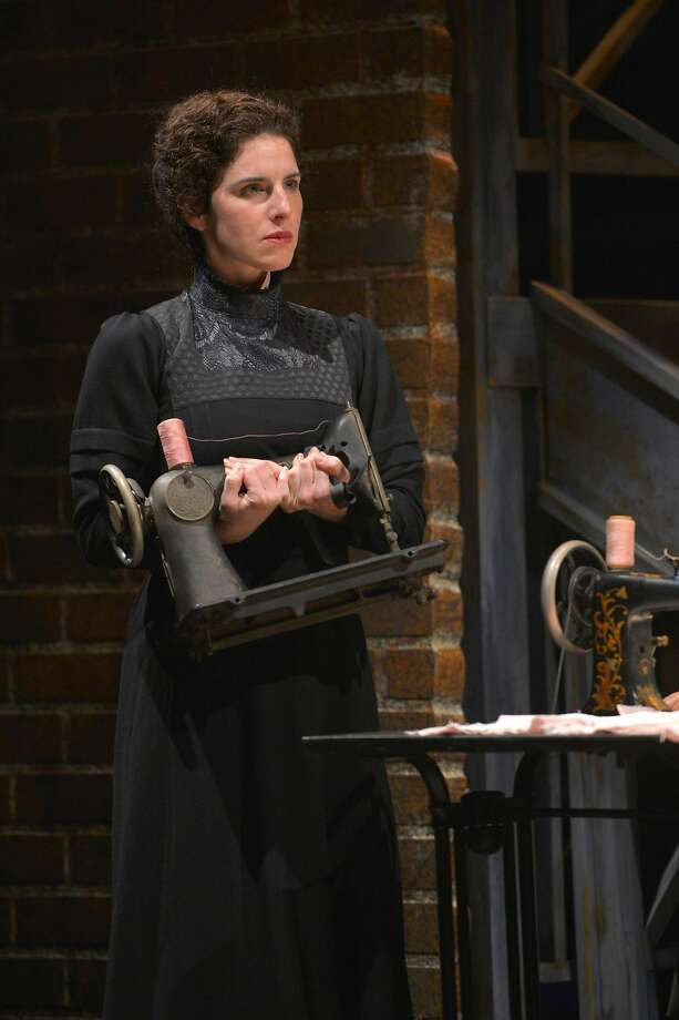 "Frustrated from her time in the sweatshop, Rebecca (Kyra Miller) grips her sewing machine in TheatreWorks Silicon Valley's ""Rags."" Photo: Kevin Berne, TheatreWorks"