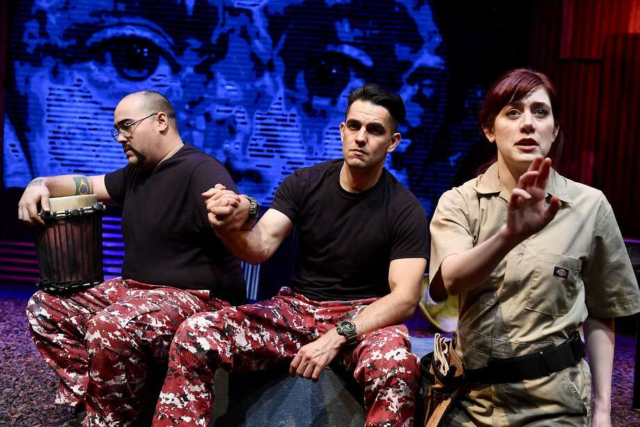 """John R. Lewis (left) and Joseph D. Valdez play rogue soldiers in """"The Memory Stick,"""" and Lyndsy Kail appears as their friend. Photo: Dave Lepori, San Jose Stage Company"""