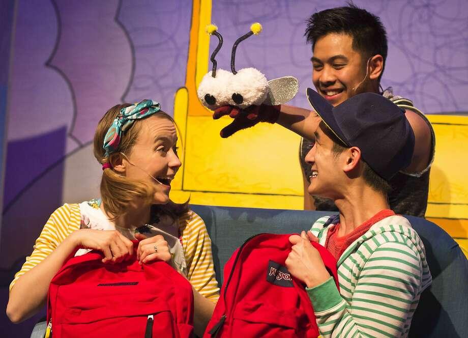 Dominic Dagdagan as Fly Guy with Katie McGee and Benjamin Nguyen. Photo: Melissa Nigro, Bay Area Children�s Theatre
