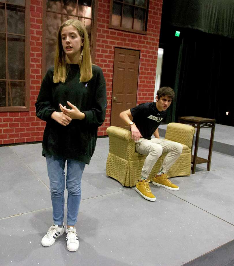 Mallory Bechtel, left, acts out a scene from Black Box Theatre's upcoming performance of Radium Girls at The John Cooper School with Chase Juszczak on Wednesday, March 29, 2017, in The Woodlands. Bechtel is nominated for the second year in the row for Theatre Under The Stars' Tommy Tune award. Photo: Jason Fochtman, Staff Photographer / © 2017 Houston Chronicle