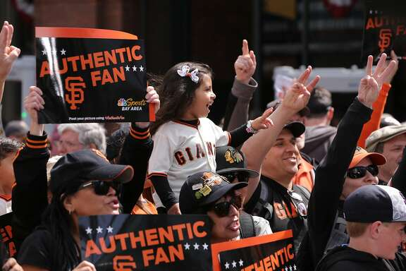 Madison Alvarado, 4 of Gilroy, who was named after Madison Bumgardner, during a rally outside the ball park, on the gIants during a rally outside the ball park, as the San Francisco Giants gets set for their home opener against the Arizona Diamondbacks at AT&T Park in San Francisco, Calif. on Mon. April 10, 2017.