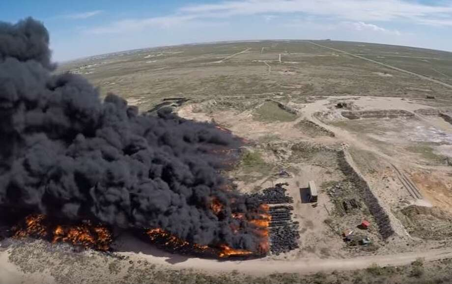 Drone footage captures massive West Odessa tire fire Photo: Shane Foster