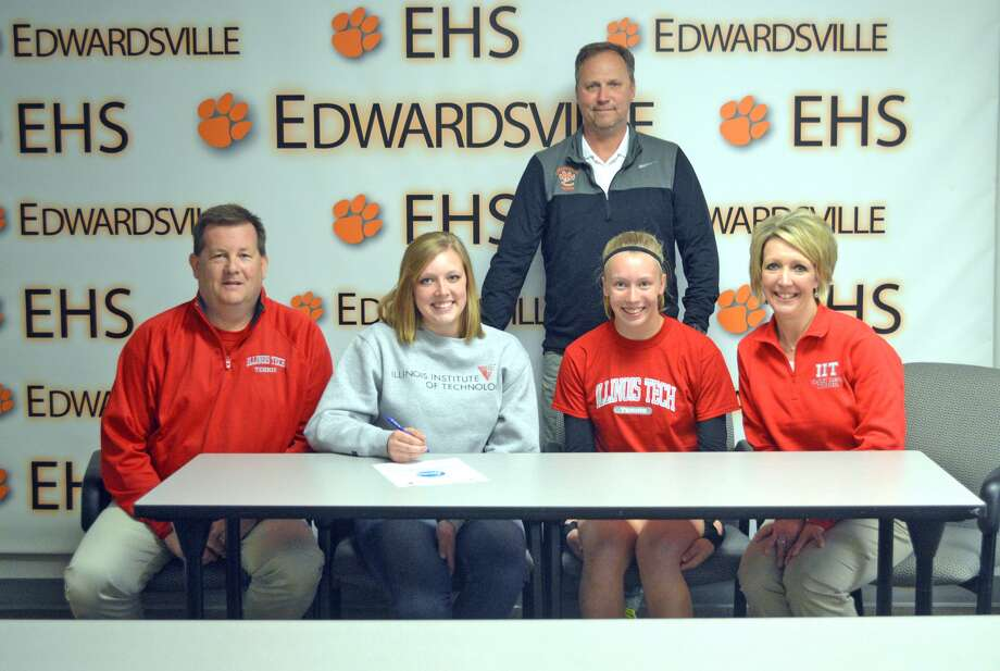 Edwardsville senior Morgan Colbert will play tennis at Illinois Institute of Technology. In the front row, from left to right, are father Craig Colbert, Morgan Colbert, mother Cindi Colbert and sister Hannah Colbert. In the back is EHS girls' tennis coach Dave Lipe.