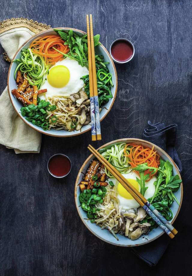 Vegetarian Bibimbap with Spicy Tofu is a filling way to get your veggies. Photo: William Morrow