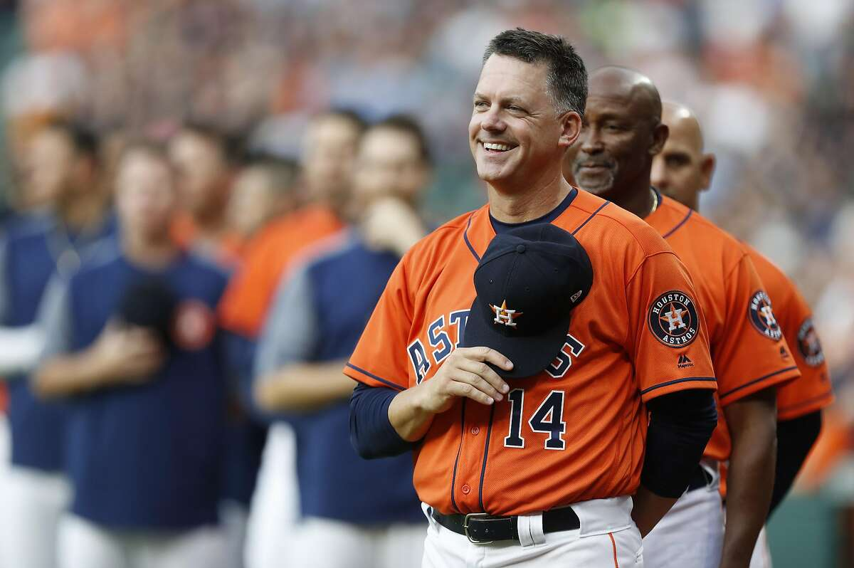 Houston Astros manager A.J. Hinch during the National Anthem before the start of the first inning of an MLB baseball game at Minute Maid Park, Friday, April 7, 2017, in Houston. ( Karen Warren / Houston Chronicle )
