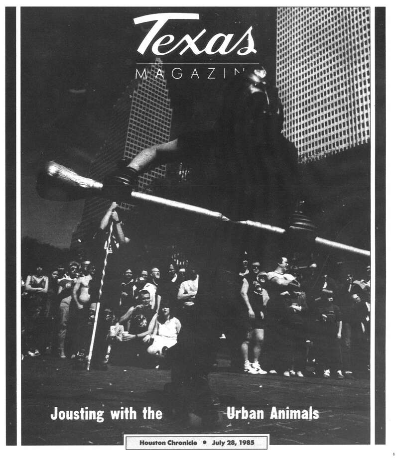 Houston Chronicle inside page - July 28, 1985 - section Texas Magazine, page 1. Jousting with the Urban Animals Photo: HC Staff / Houston Chronicle