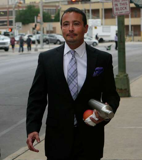San Antonio businessman Brian Alfaro will have to pay about $8 million in damages to nine disgruntled investors after a bankruptcy judge determined Alfaro defrauded them. Investors accused Alfaro of defrauding them in oil and gas investments and using the money to support a lavish lifestyle. Alfaro is pictured walking to court in the Hipolito F. Garcia Federal Building and U.S. Courthouse for his trial in April. Photo: John Davenport /San Antonio Express-News / ?©John Davenport/San Antonio Express-News