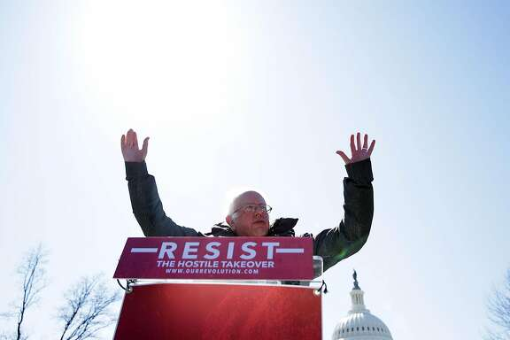 WASHINGTON, DC - MARCH 22:  U.S. Sen. Bernie Sanders (I-VT) speaks during a rally in front of the Capitol March 22, 2017 in Washington, DC. Sanders urged the Senate to reject President Donald Trump's nomination of Jay Clayton to head the Securities and Exchange Commission.  (Photo by Alex Wong/Getty Images)
