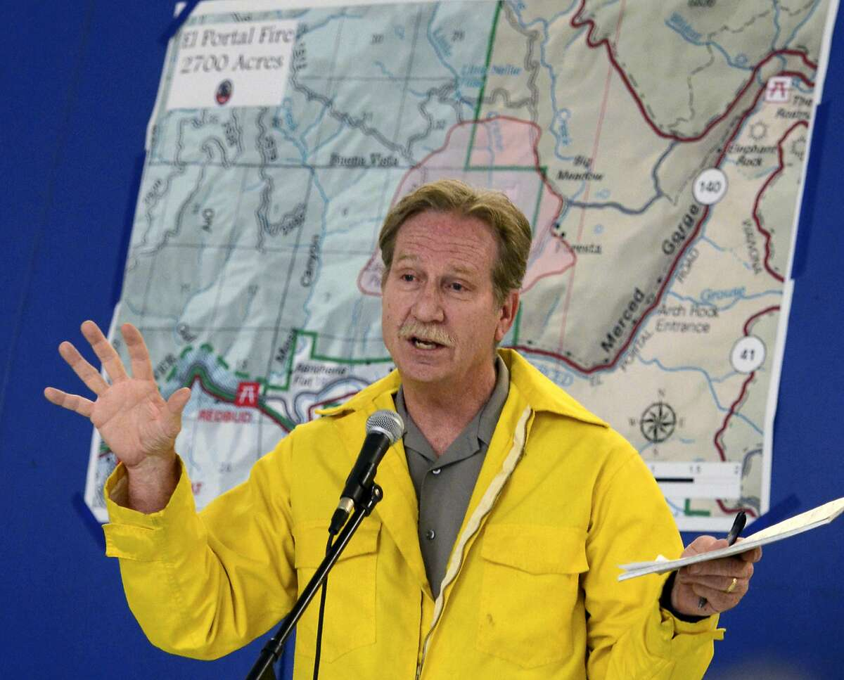FILE - In this July 28, 2014 file photo, then-Yosemite National Park Superintendent Don Neubacher speaks in El Portal, Calif. Neubacher created a hostile workplace by belittling employees, using words such as