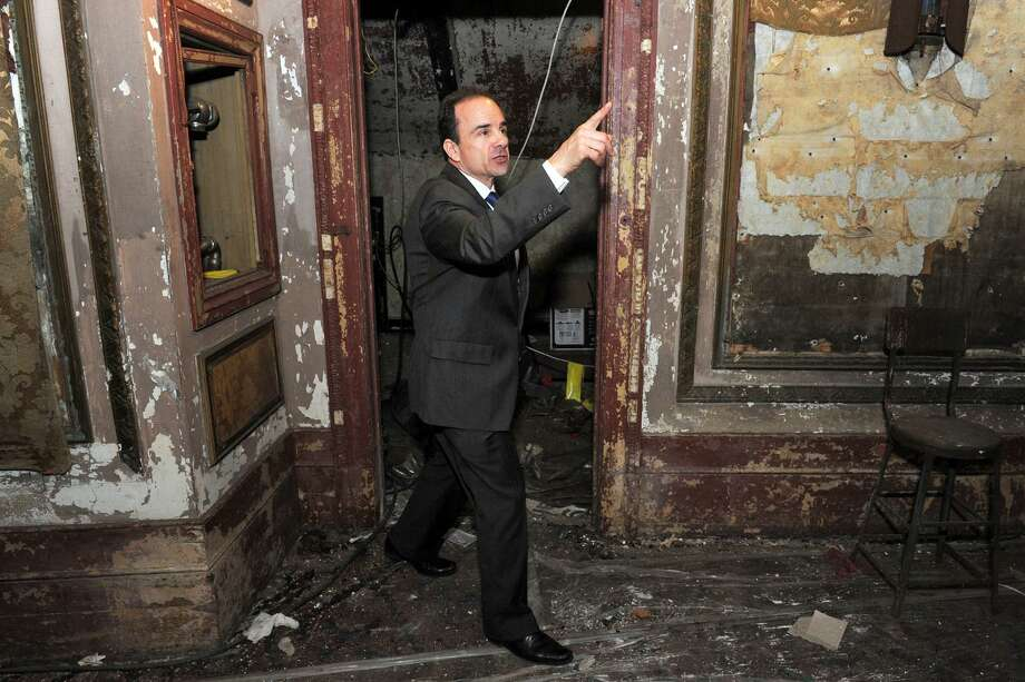 Mayor Joe Ganim leads a tour inside the old Palace Theater, in downtown Bridgeport, Conn. April 10, 2017. During his speech earlier in the day to the Bridgeport Regional Business Council, Ganim spoke of plans to renovate the Poli Palace and Majestic Theaters. Photo: Ned Gerard / Hearst Connecticut Media / Connecticut Post