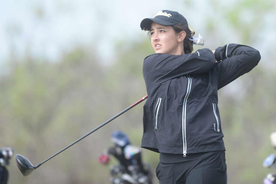 Andrews' Rachel Huffman tees off during the District 4-4A golf tournament April 10, 2017, at Hogan Park Golf Course. James Durbin/Reporter-Telegram Photo: James Durbin