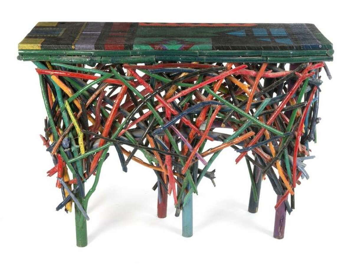 Lot 2: Polychrome branch table Estimate: $300 - $500 Note: Used in the atrium of the Swayze ranch