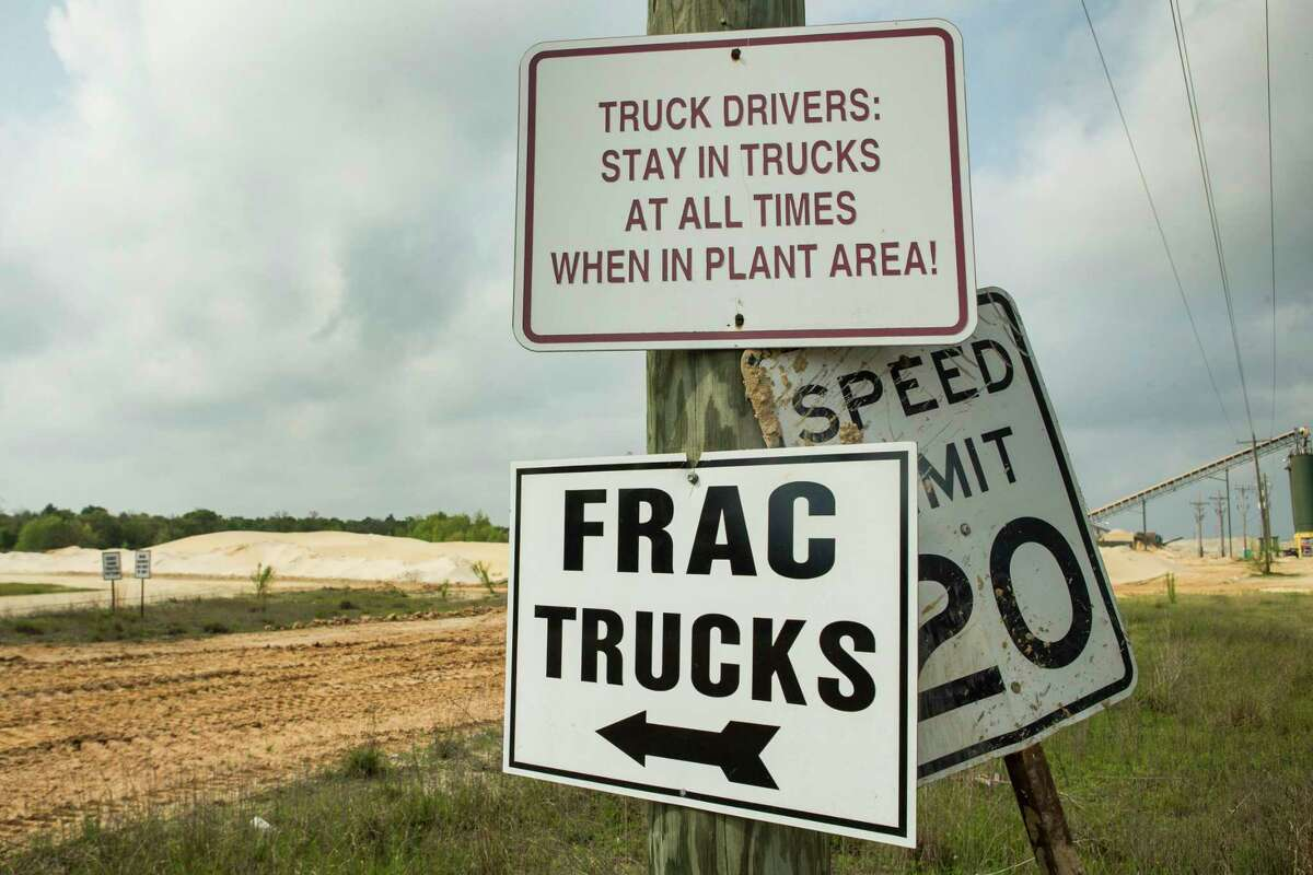 Heading to the mine Drive up to Emerge Energy Services' sand mine near Kosse, Texas and a sign points the way for
