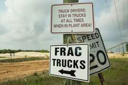 A sign pointing the way to a sand loading site at the Superior Silica Sands sand mine is shown on Tuesday, March 28, 2017, in Kosse, Texas. Demand for sand is surging as oil and gas production in the Permian Basin is booming again. Not only is the need for more sand on the rise with the increase in oil and gas production in west Texas, but much more sand is being pumed into each well now withi the emerging thesis that more sand equals more oil extracted.