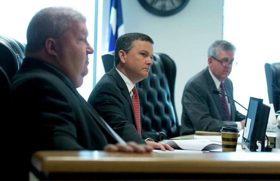 Montgomery County Precinct 3 Commissioner James Noack, center, listen beside Judge Craig Doyal and Precinct 4 Commissioner Jim Clark during Commissioners Court at the Alan B. Sadler Commissioners Court Building on Tuesday, March 28, 2017, in Conroe. Photo: Jason Fochtman, Staff Photographer / © 2017 Houston Chronicle
