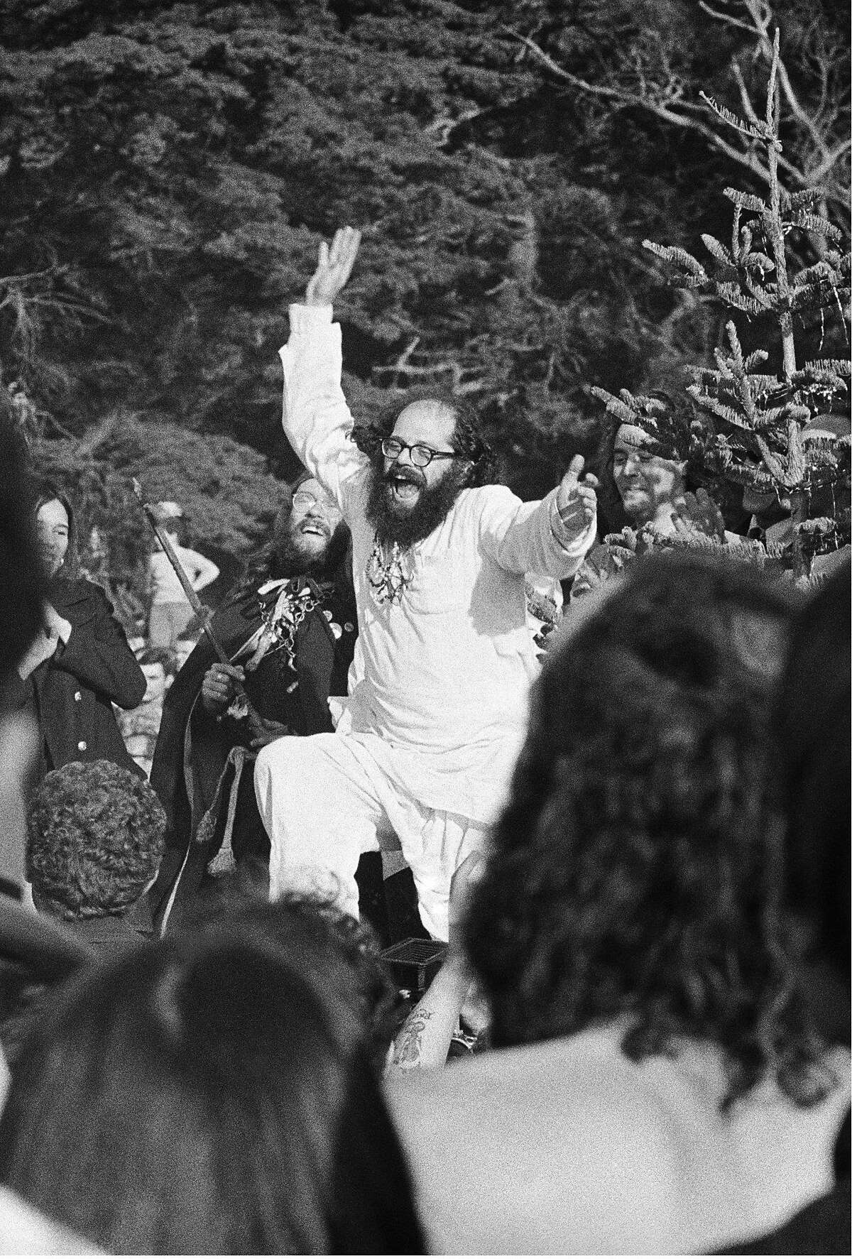 """Allen Ginsberg dances to the Grateful Dead at the """"Gathering of the Tribes"""" in 1967."""