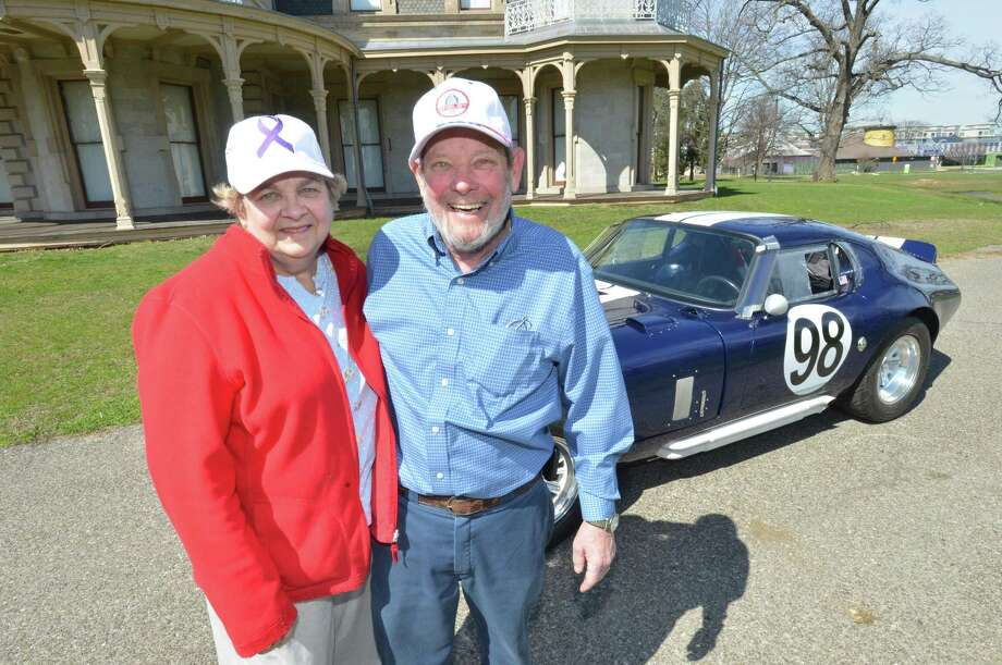 Pauline and Mark Schlegel with Marks's 1965 Factory Five Shelby Daytona Coupe at Lockwood Matthews Mansion Museum on Monday April 10, 2017 in Norwalk Conn.  Diagnosed with Pancreatic Cancer he bought the car of his dreams a year ago and has organized the Rallye for Pancreatic Cancer April 23 9am-3pm at Calf Pasture Beach to raise funds for reasearch Photo: Alex Von Kleydorff / Hearst Connecticut Media / Norwalk Hour