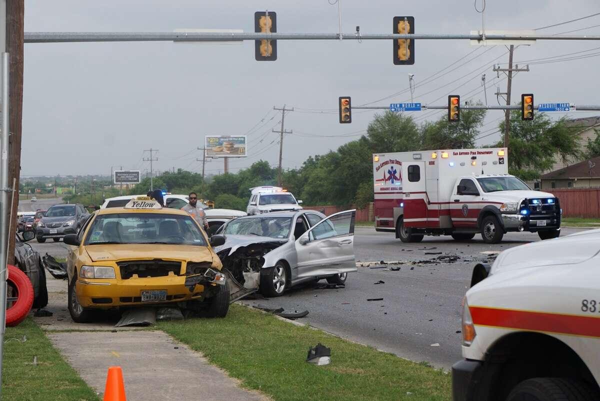Six vehicles collided about 4 p.m. Monday, April 10, 2017 near Walzem onto New World Drive.