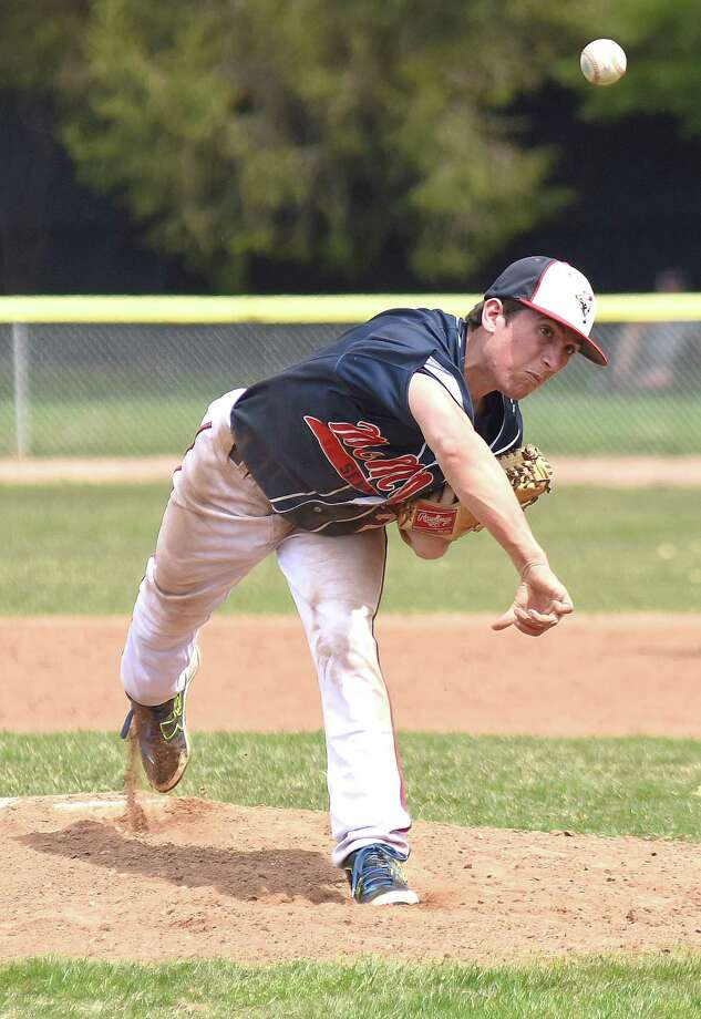 Brien McMahon sophomore pitcherJames Stefanowicz fires the ball to the plate during Monday's non-conference baseball game against Weston at Revson Field in Weston. Stefanowicz pitched five-plus shutout innings to lead the Senators to a 9-2 win. Photo: John Nash / Hearst Connecticut Media / Norwalk Hour