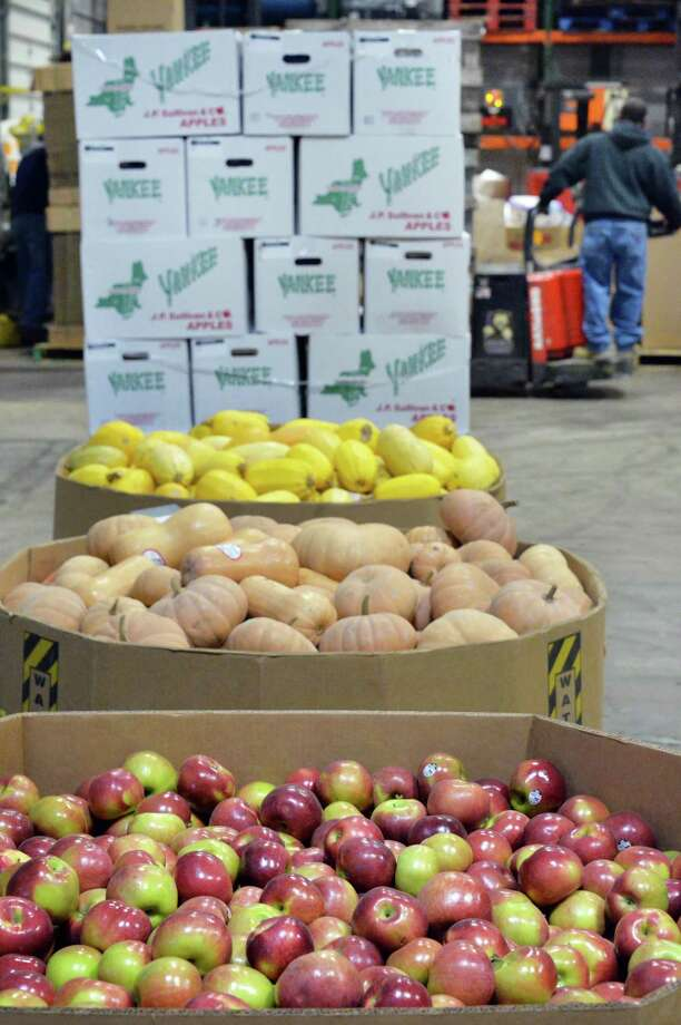 """Fresh farm produce collected through the """"Harvest for All"""" donation program at the Regional Food Bank of Northeastern New York Tuesday Dec. 8, 2015 in Colonie, NY.  (John Carl D'Annibale / Times Union archive) Photo: John Carl D'Annibale / 10034551A"""