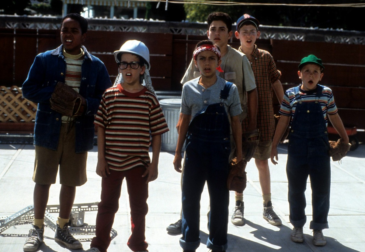Then: The gang of kids in a scene from the film 'The Sandlot' in 1993.