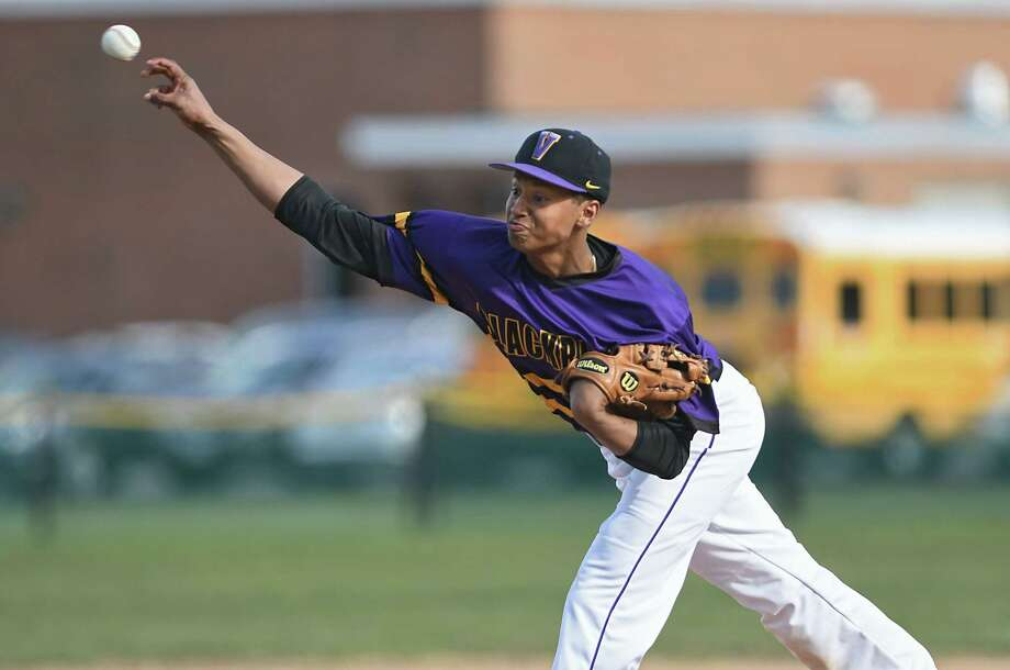 Voorheesville pitcher P.J. Parker throws the ball during a baseball game against Cohoes on Monday, April 10, 2017 in Voorheesville, N.Y. (Lori Van Buren / Times Union) Photo: Lori Van Buren / 20040196A