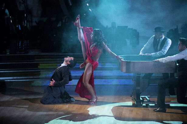 Normani Kordei and Val Chmerkovskiy during Vegas Week on Dancing with the Stars.
