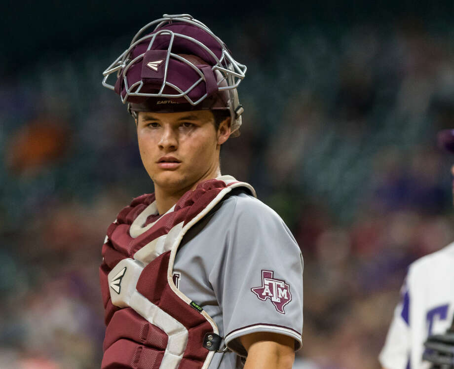 2 of 86 A&M-TCU baseball Texas A&M catcher Hunter Coleman (10) looks over to the A&M dugout during a NCAA baseball game at Minute Maid Park on Saturday, Mar. 4, 2017, in Houston. (Joe Buvid / For the Houston Chronicle)