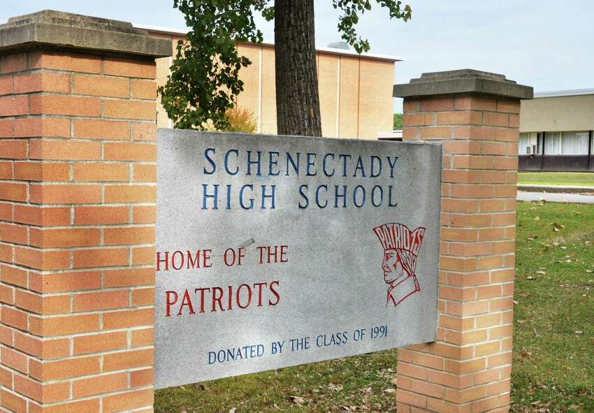 Sign outside Schenectady High School Thursday Sept. 25, 2014, in Schenectady, N.Y. The Schenectady School District will increase its state aide in 2017-2018. (John Carl D'Annibale / Times Union)