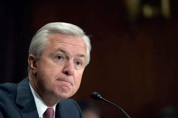 """FILE - In this Tuesday, Sept. 20, 2016, file photo, Wells Fargo CEO John Stumpf testifies on Capitol Hill in Washington, before the Senate Banking Committee. In the results of an investigation released Monday, April 10, 2017, Wells Fargo's board of directors has blamed the bank's most senior management for creating an """"aggressive sales culture"""" at Wells that eventually led to the bank's scandal over millions of unauthorized accounts. The results of the investigation, conducted by the law firm Shearman & Sterling, also called for millions of dollars in compensation to be clawed back from former CEO Stumpf and community bank executive Carrie Tolstedt. (AP Photo/Susan Walsh, File)"""