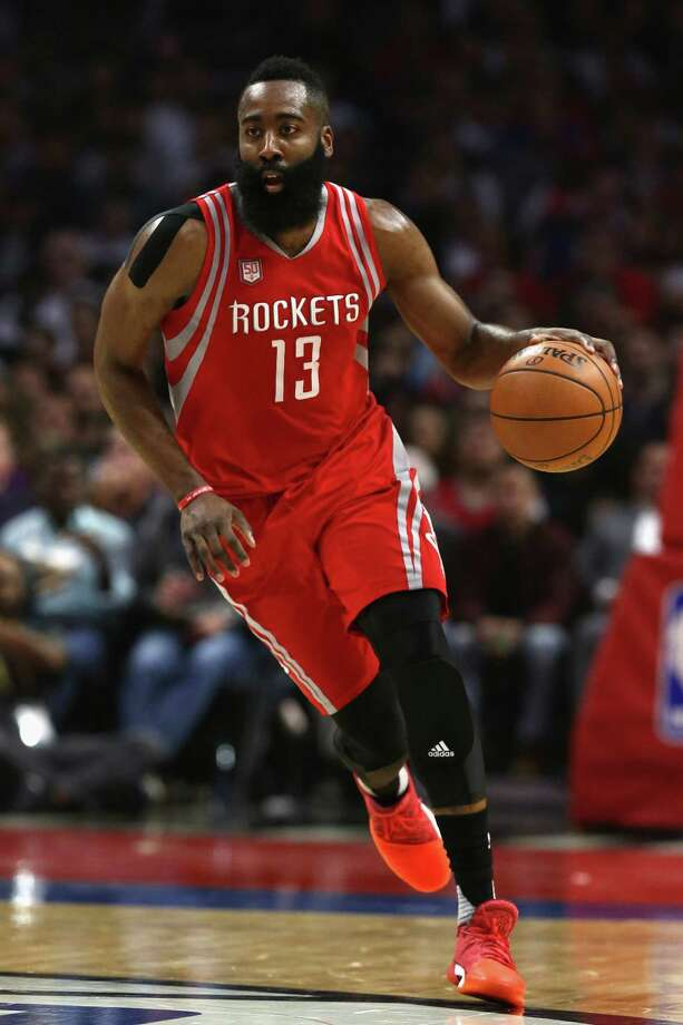 LOS ANGELES, CA - APRIL 10:  James Harden #13 of the Houston Rockets dribbles upcourt  during the first half of a game against the LA Clippers  at Staples Center on April 10, 2017 in Los Angeles, California.  NOTE TO USER: User expressly acknowledges and agrees that, by downloading and or using this Photograph, user is consenting to the terms and conditions of the Getty Images License Agreement Photo: Sean M. Haffey, Getty Images / 2017 Getty Images