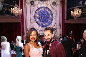 Amber Elliott and NEED ID pose for a photo at Houston Grand Opera Ball 2017, Carnevale di Venezia at Wortham Theater Center Saturday, April 8, 2017, in Houston.