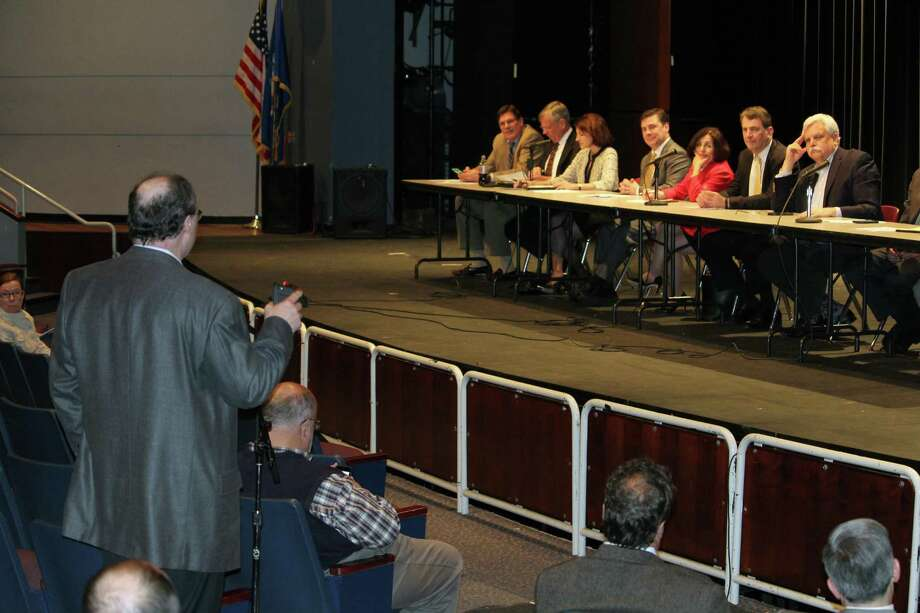 Commuters voiced their concerns about the Metro-North Danbury branch line to Connecticut Department of Transportation Commissioner James Redeker and area legislators on Monday, April 10, 2017, at Wilton High School's Clune Center. Photo: Stephanie Kim / Hearst Connecticut Media