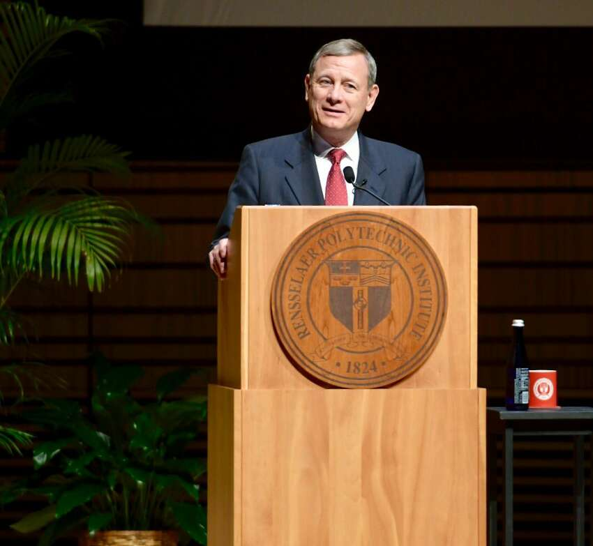 U.S. Supreme Court Chief Justice John Roberts speaks on Tuesday, April 11, 2017, at Rensselaer Polytechnic Institute in Troy. (Skip Dickstein/Times Union)