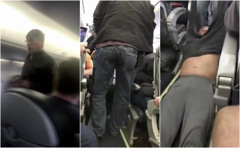 Collage from smartphone video of United Airlines passenger being forcibly removed from a flight in Chicago. Photo: Associated Press Photos