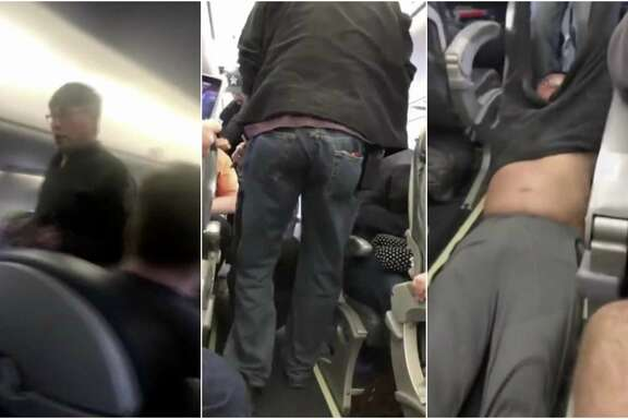 Collage from smartphone video of United Airlines passenger being forcibly removed from a flight in Chicago.
