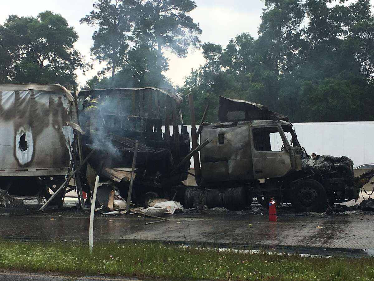 An 18-wheeler that caught fire has blocked traffic on Interstate 10 Westbound in Vidor.