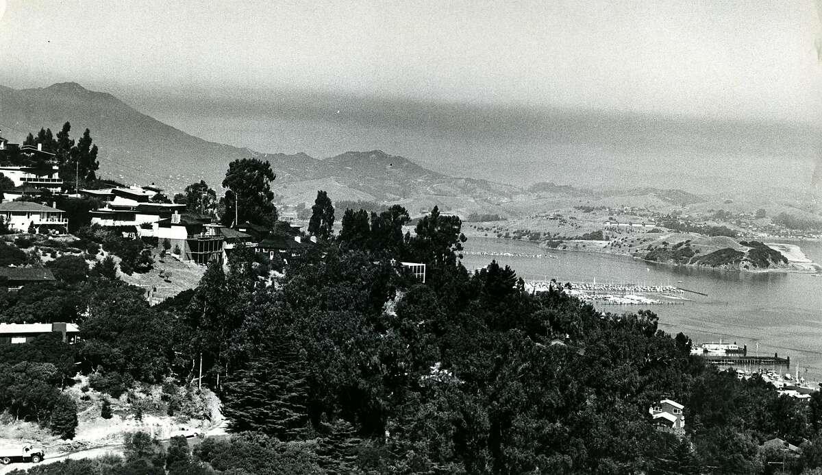 Smoke over Marin from Spencer Avenue in Sausalito, CA, looking toward Mt. Tamalpais. September 23, 1964