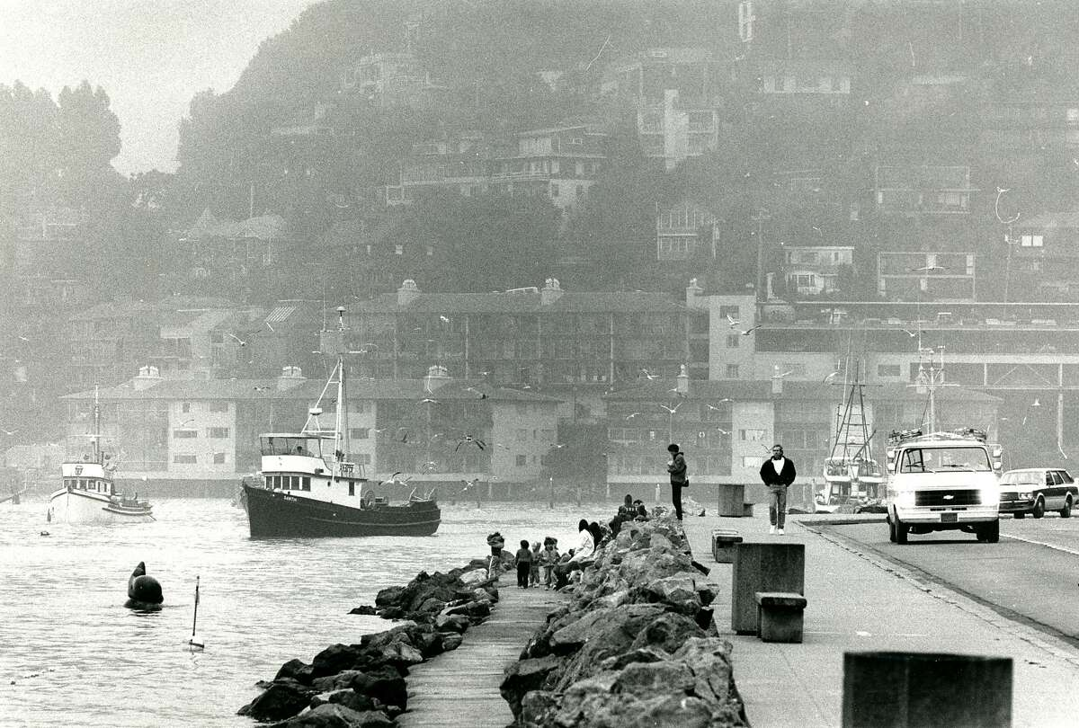 Sausalito, CA looking south on Bridgeway, boats in the water are fishing for herring. December 11, 1986