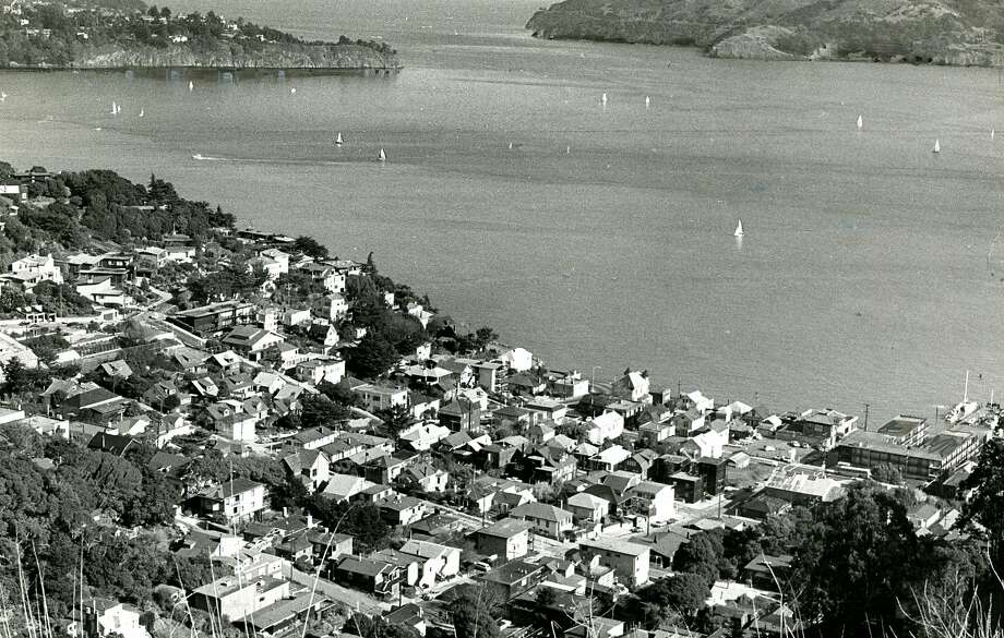 View of Sausalito, CA and Raccoon Strait, with Belvedere on the left and Angel Island on the right,  Richmond, CA in the distance. January 16, 1965 Photo: Joe Rosenthal, San Francisco Chronicle