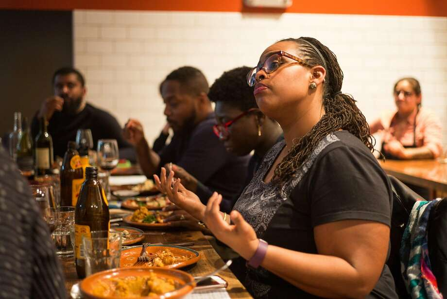 Shelby Austin speaks during the Blackness in America dinner at El Buen Comer in San Francisco, Calif. on Monday, April 11, 2017 Photo: James Tensuan, Special To The Chronicle