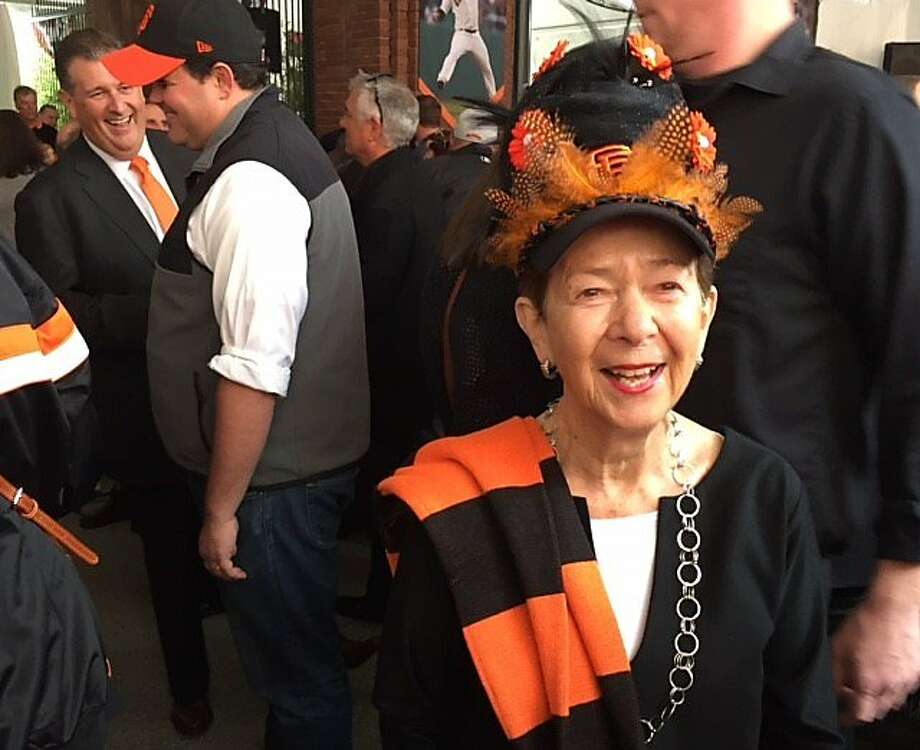 Cissie Swig on Giants opening day 2017 Photo: Leah Garchik, San Francisco Chronicle