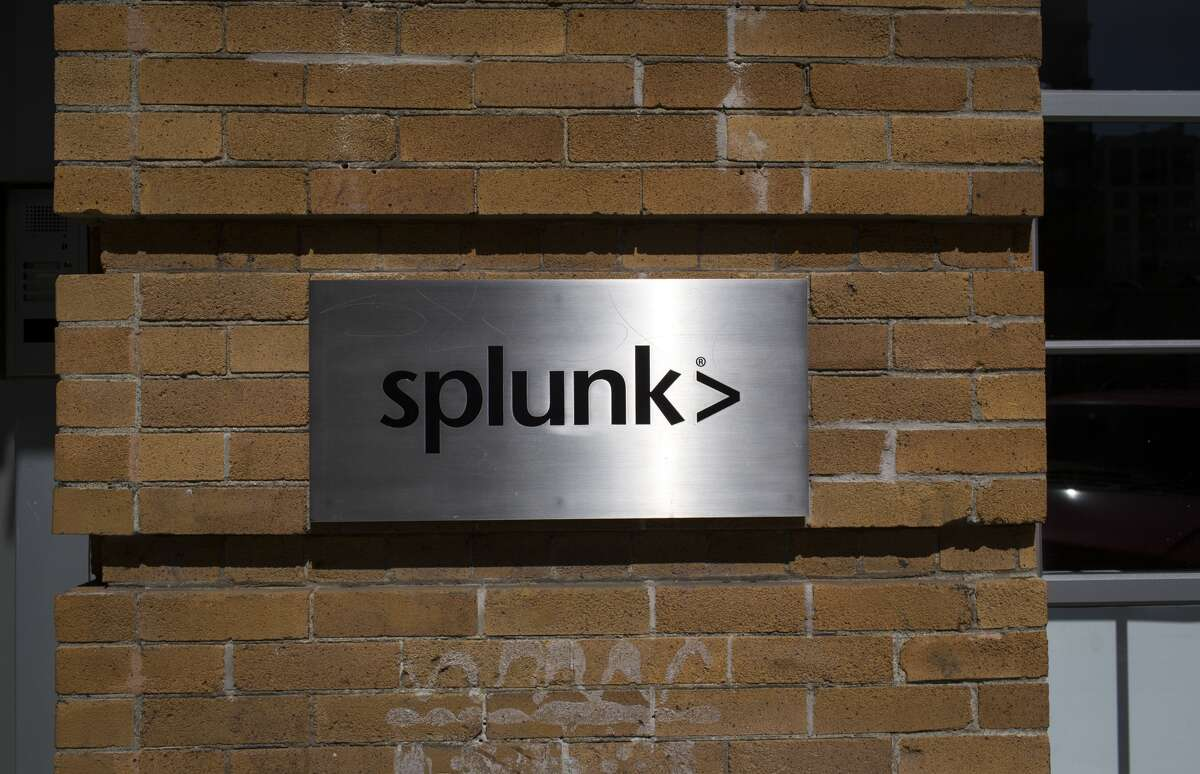 FILE - A sign for the main office of Splunk is viewed April 14, 2014 in the heart of the start-up district in San Francisco, California. Splunk designs and produces software for searching, monitoring, and analyzing machine-generated data. The company is located in the SOMA area of San Francisco, or South of Market Street.