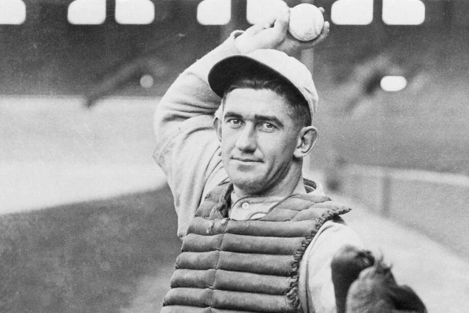 (Original Caption) Hall of Fame Baseball catcher Mickey Cochrane, shown in action with the series winning Philadelphia Athletics in 1930, is at present a scout for the Yankees, working the Michigan area. Ace backstop for the A's and the Detroit Tigers from 1925 through 1937, Cochrane now also acts as spring training coach for the Yankees. Photo: Bettmann, Bettmann Archive