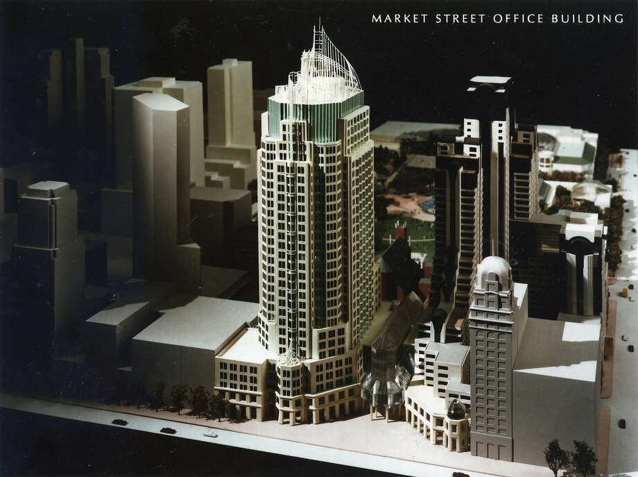 The skyline that might have been: a model of the Market Street tower designed by Cesar Pelli in the late 1980s but never built. It was to be located where the Four Seasons hotel and condominiums now stand, alongside Yerba Buena Lane.